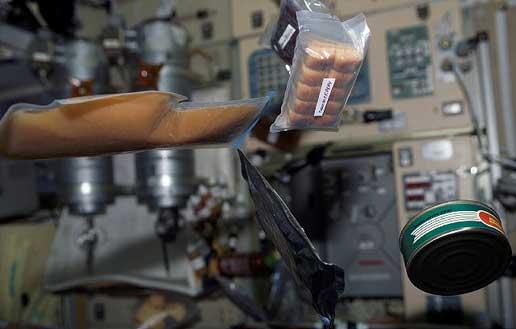 Floating food in space